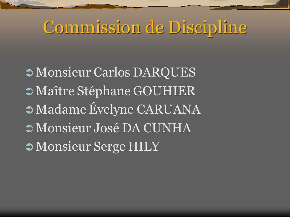 Commission de Discipline Monsieur Carlos DARQUES Maître Stéphane GOUHIER Madame Évelyne CARUANA Monsieur José DA CUNHA Monsieur Serge HILY