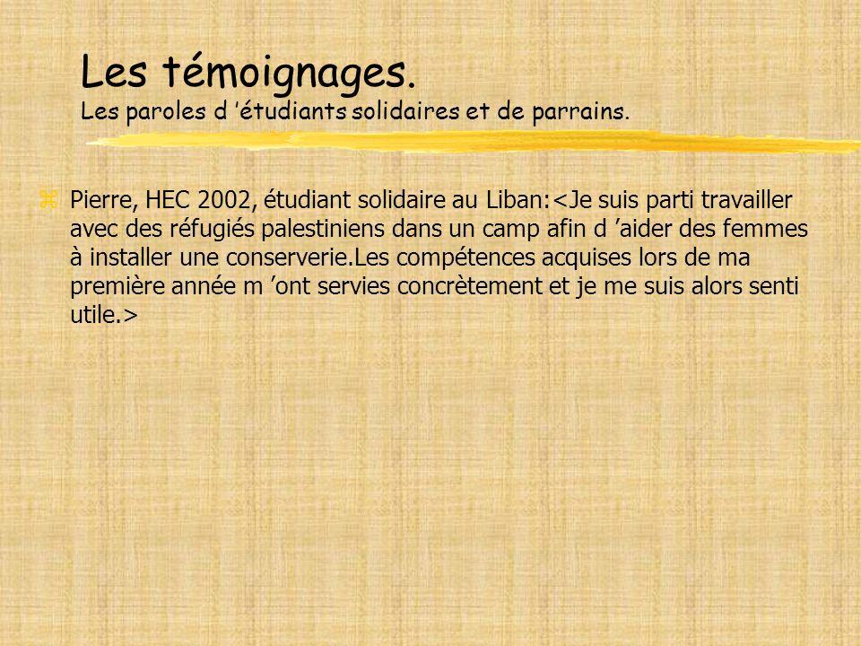 Les témoignages. Les paroles d étudiants solidaires et de parrains. zPierre, HEC 2002, étudiant solidaire au Liban:
