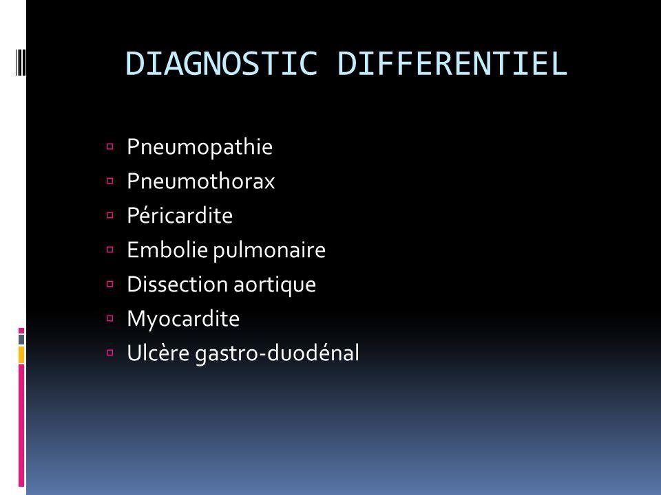 DIAGNOSTIC DIFFERENTIEL Pneumopathie Pneumothorax Péricardite Embolie pulmonaire Dissection aortique Myocardite Ulcère gastro-duodénal