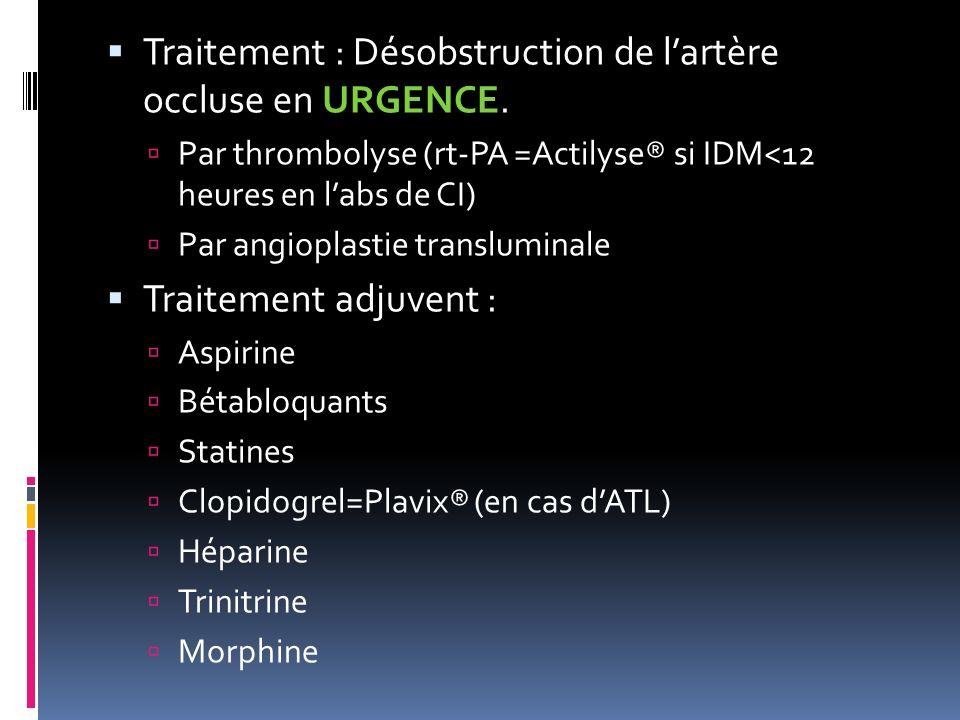 Traitement : Désobstruction de lartère occluse en URGENCE. Par thrombolyse (rt-PA =Actilyse® si IDM<12 heures en labs de CI) Par angioplastie translum