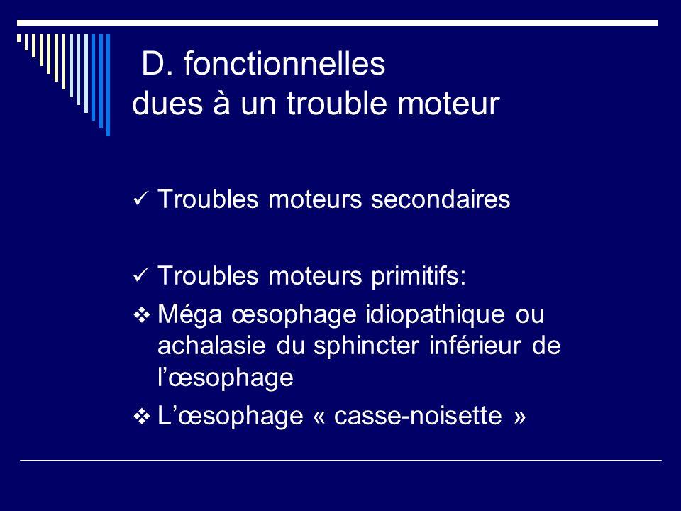 D. fonctionnelles dues à un trouble moteur Troubles moteurs secondaires Troubles moteurs primitifs: Méga œsophage idiopathique ou achalasie du sphinct