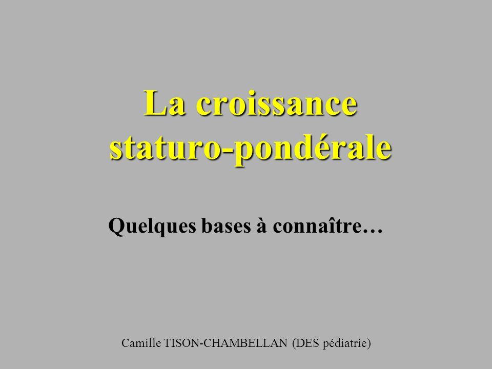 La croissance staturo-pondérale Quelques bases à connaître… Camille TISON-CHAMBELLAN (DES pédiatrie)