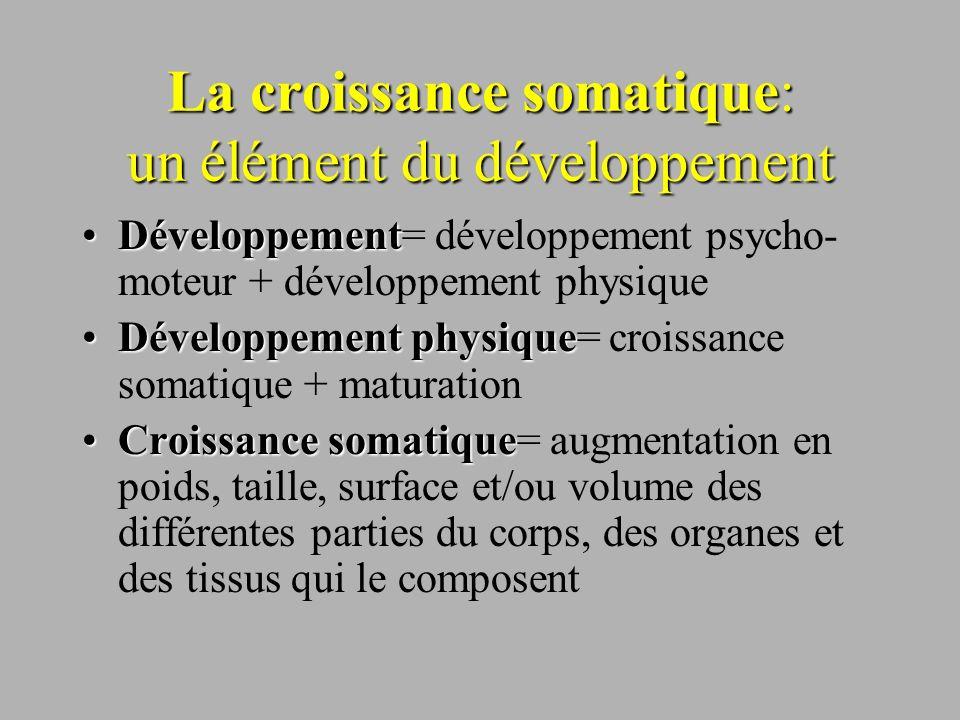La croissance somatique: un élément du développement DéveloppementDéveloppement= développement psycho- moteur + développement physique Développement p