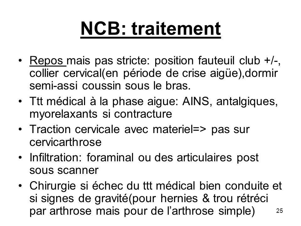 25 NCB: traitement Repos mais pas stricte: position fauteuil club +/-, collier cervical(en période de crise aigüe),dormir semi-assi coussin sous le br