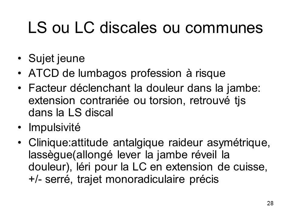 28 LS ou LC discales ou communes Sujet jeune ATCD de lumbagos profession à risque Facteur déclenchant la douleur dans la jambe: extension contrariée o