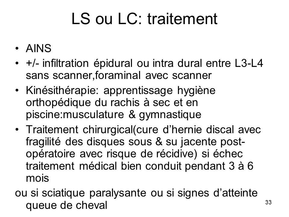 33 LS ou LC: traitement AINS +/- infiltration épidural ou intra dural entre L3-L4 sans scanner,foraminal avec scanner Kinésithérapie: apprentissage hy