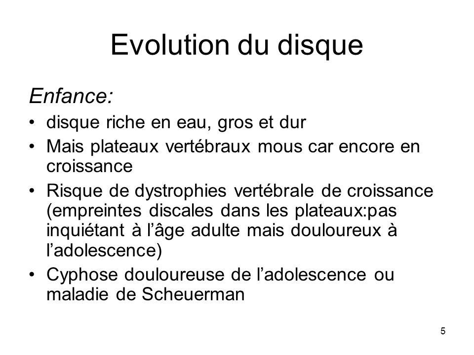 5 Evolution du disque Enfance: disque riche en eau, gros et dur Mais plateaux vertébraux mous car encore en croissance Risque de dystrophies vertébral