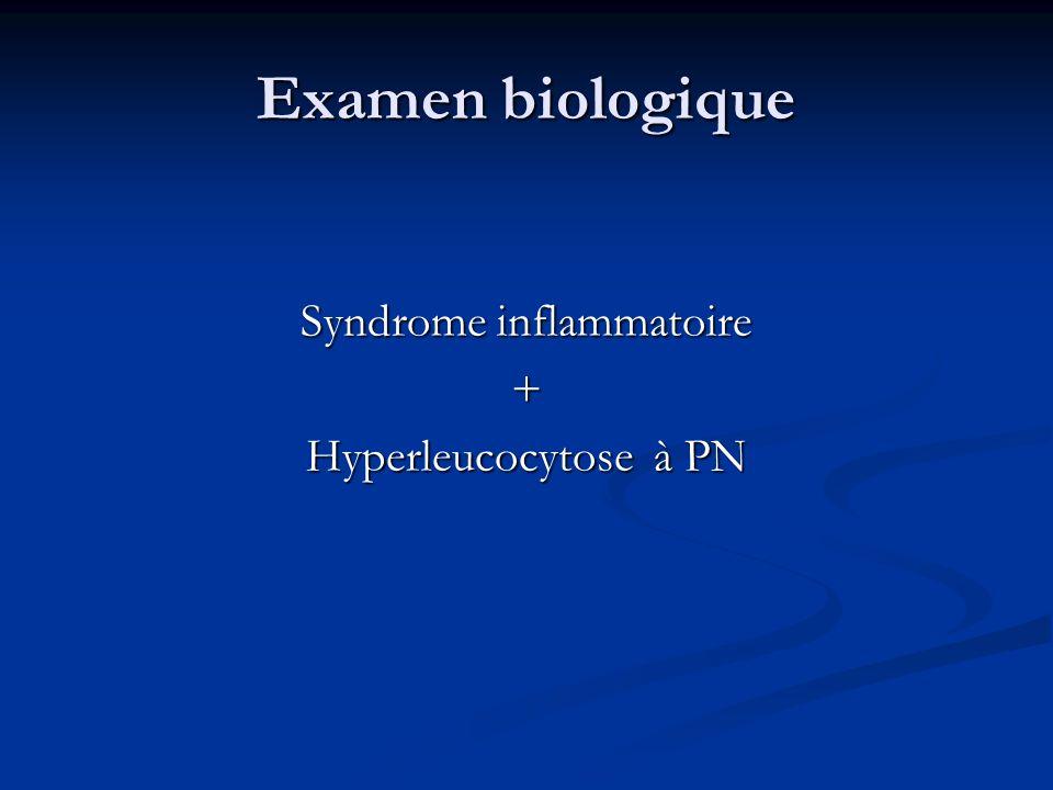 Examen biologique Syndrome inflammatoire + Hyperleucocytose à PN