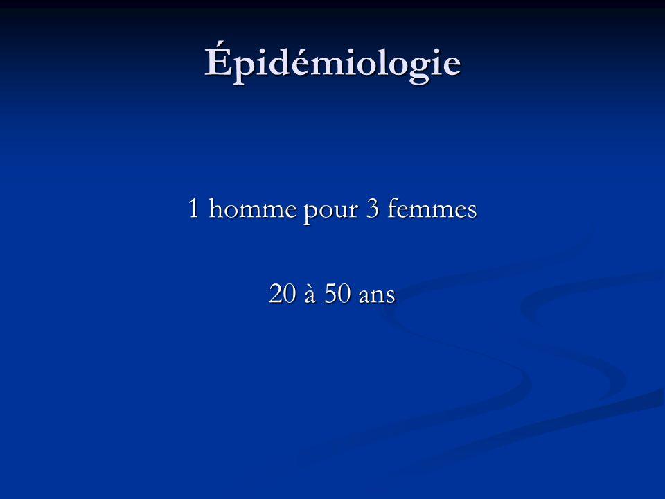 Épidémiologie 1 homme pour 3 femmes 20 à 50 ans
