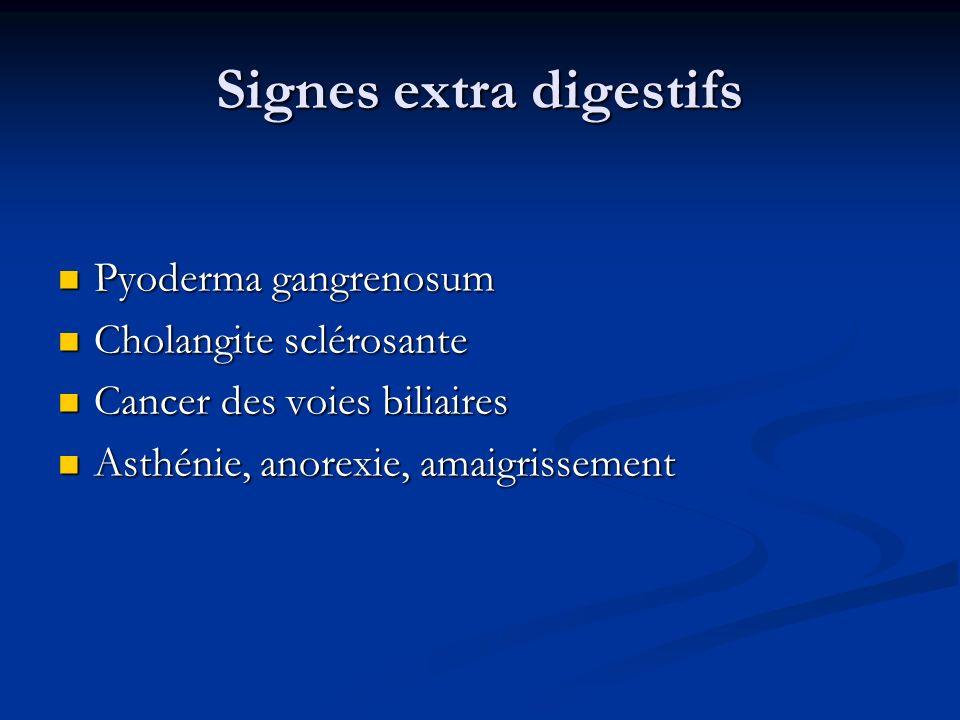 Signes extra digestifs Pyoderma gangrenosum Pyoderma gangrenosum Cholangite sclérosante Cholangite sclérosante Cancer des voies biliaires Cancer des v