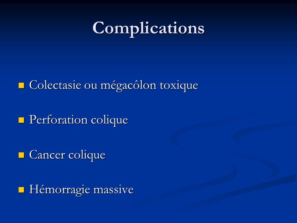 Complications Colectasie ou mégacôlon toxique Colectasie ou mégacôlon toxique Perforation colique Perforation colique Cancer colique Cancer colique Hé
