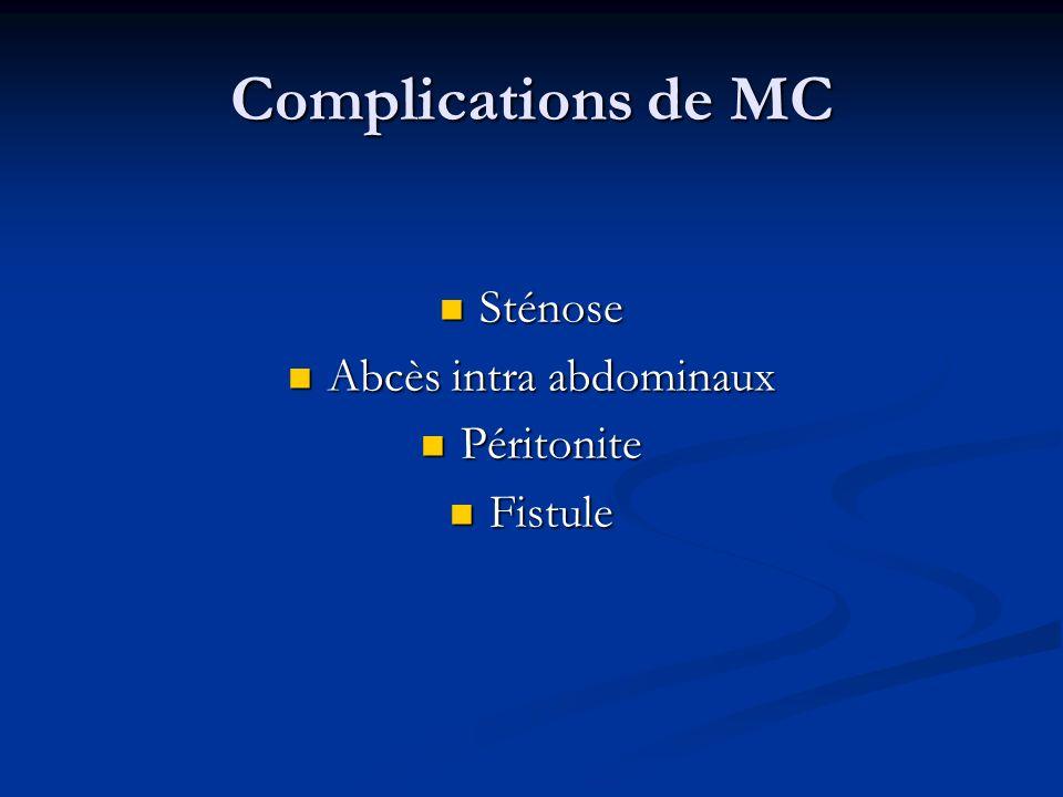 Complications de MC Sténose Sténose Abcès intra abdominaux Abcès intra abdominaux Péritonite Péritonite Fistule Fistule
