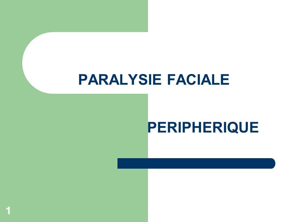 12 PF dues à un processus tumoral Progressive Extension ou reprise de la tumeur +ou- greffe du nerf Tarsorraphie (suture des cartilages des paupières) Scanner, IRM