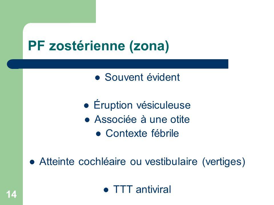 14 PF zostérienne (zona) Souvent évident Éruption vésiculeuse Associée à une otite Contexte fébrile Atteinte cochléaire ou vestibulaire (vertiges) TTT