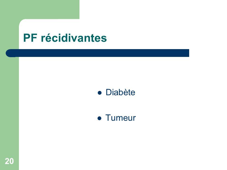 20 PF récidivantes Diabète Tumeur