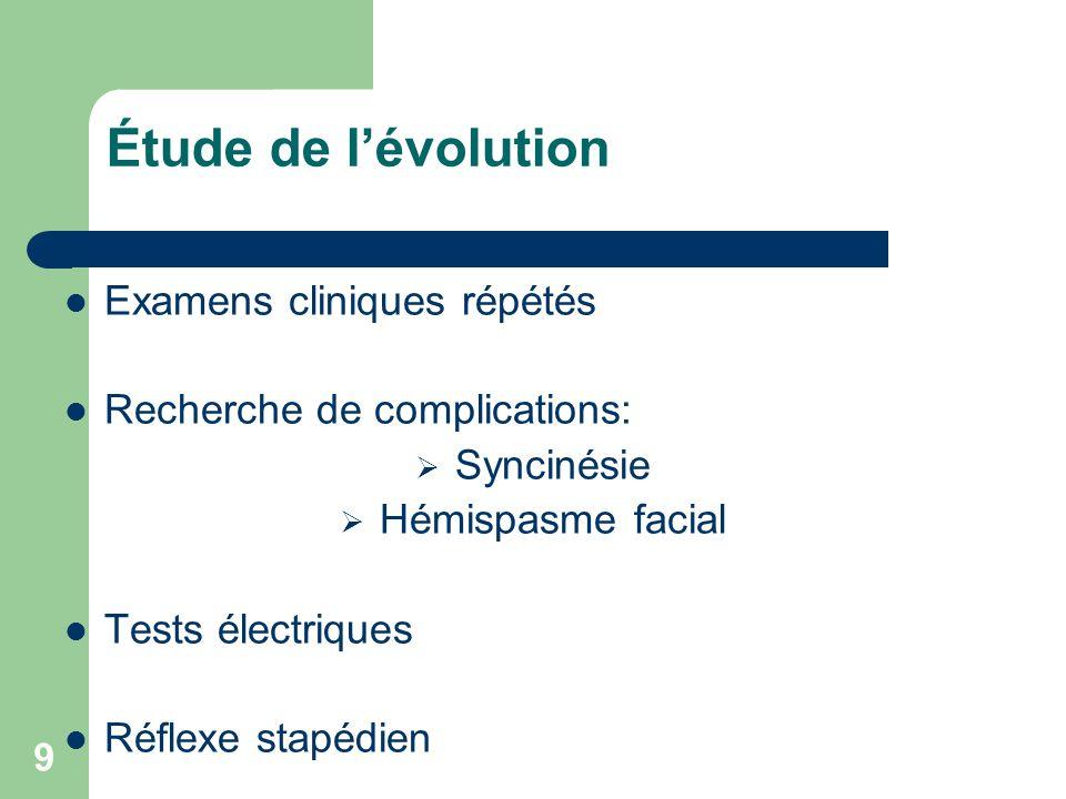 9 Étude de lévolution Examens cliniques répétés Recherche de complications: Syncinésie Hémispasme facial Tests électriques Réflexe stapédien