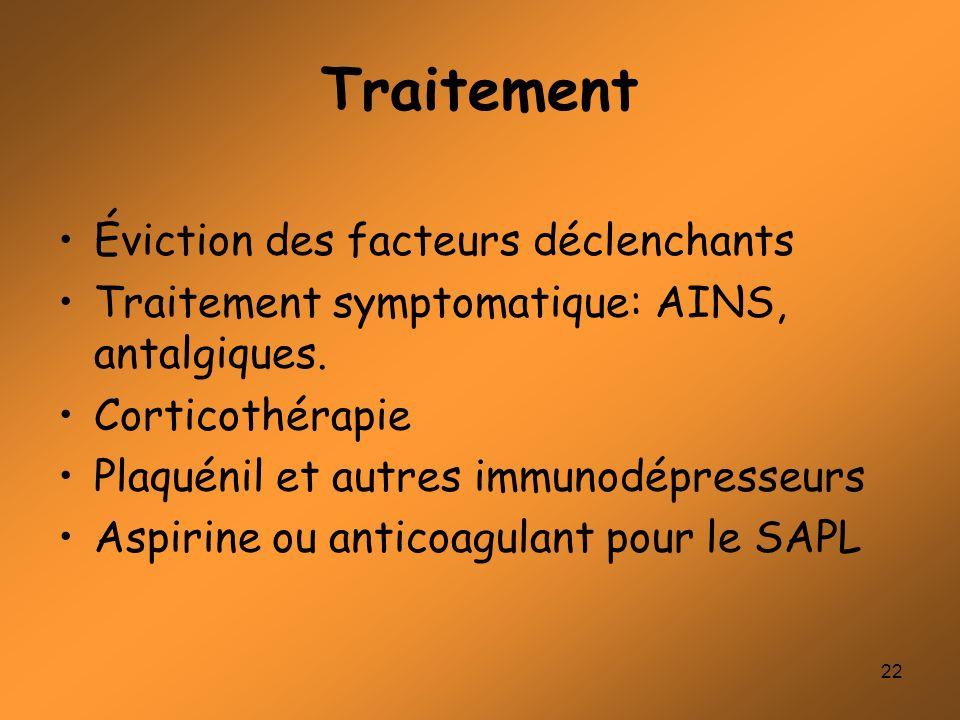 22 Traitement Éviction des facteurs déclenchants Traitement symptomatique: AINS, antalgiques. Corticothérapie Plaquénil et autres immunodépresseurs As