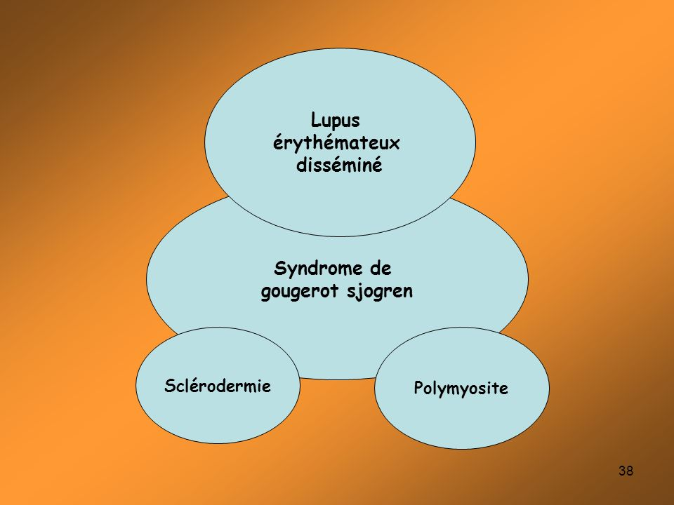 38 Syndrome de gougerot sjogren Lupus érythémateux disséminé Polymyosite Sclérodermie