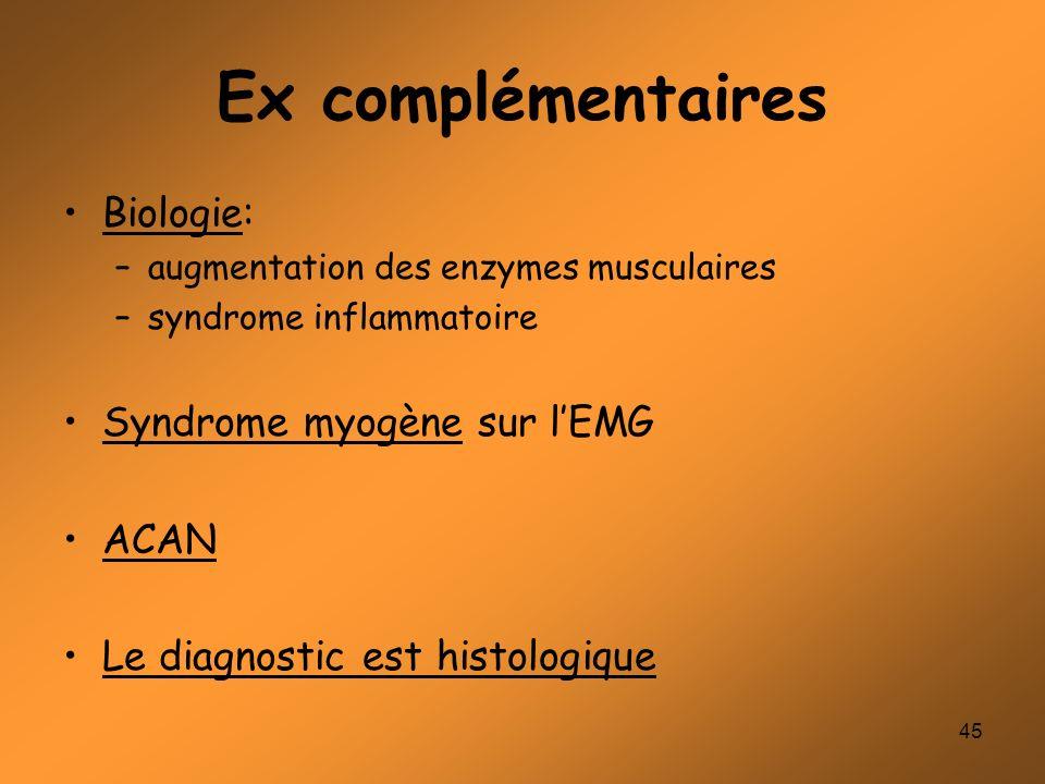 45 Ex complémentaires Biologie: –augmentation des enzymes musculaires –syndrome inflammatoire Syndrome myogène sur lEMG ACAN Le diagnostic est histolo
