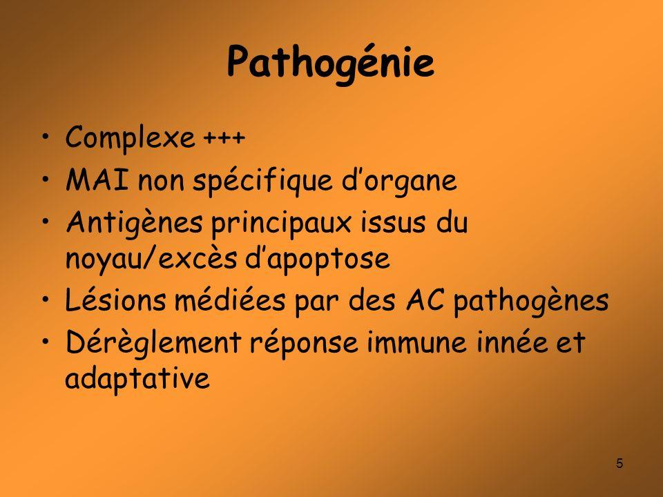 5 Pathogénie Complexe +++ MAI non spécifique dorgane Antigènes principaux issus du noyau/excès dapoptose Lésions médiées par des AC pathogènes Dérègle