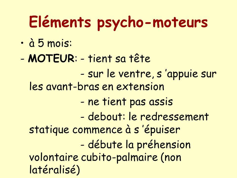 Eléments psycho-moteurs à 5 mois: - MOTEUR: - tient sa tête - sur le ventre, s appuie sur les avant-bras en extension - ne tient pas assis - debout: l