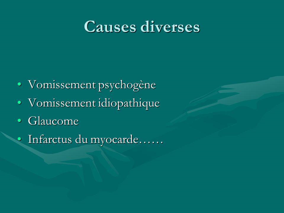 Causes diverses Vomissement psychogèneVomissement psychogène Vomissement idiopathiqueVomissement idiopathique GlaucomeGlaucome Infarctus du myocarde……Infarctus du myocarde……