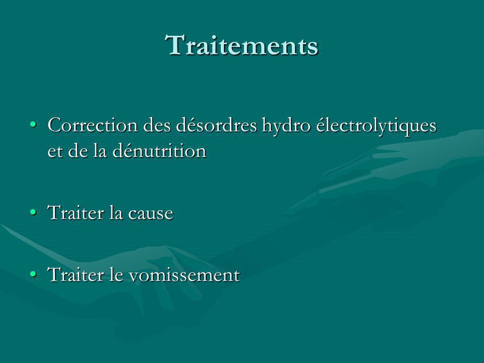 Traitements Correction des désordres hydro électrolytiques et de la dénutritionCorrection des désordres hydro électrolytiques et de la dénutrition Traiter la causeTraiter la cause Traiter le vomissementTraiter le vomissement