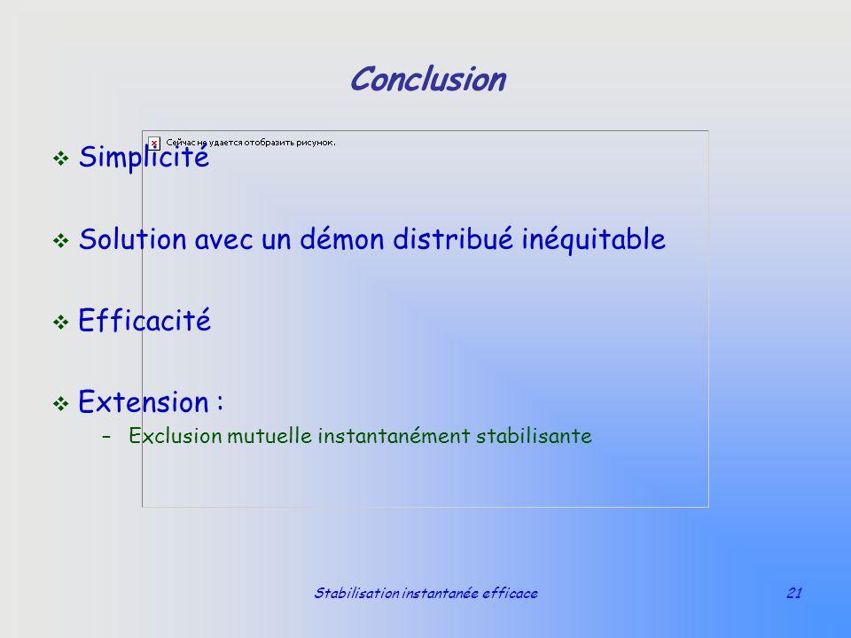 Stabilisation instantanée efficace21 Conclusion v Simplicité v Solution avec un démon distribué inéquitable v Efficacité v Extension : –Exclusion mutu