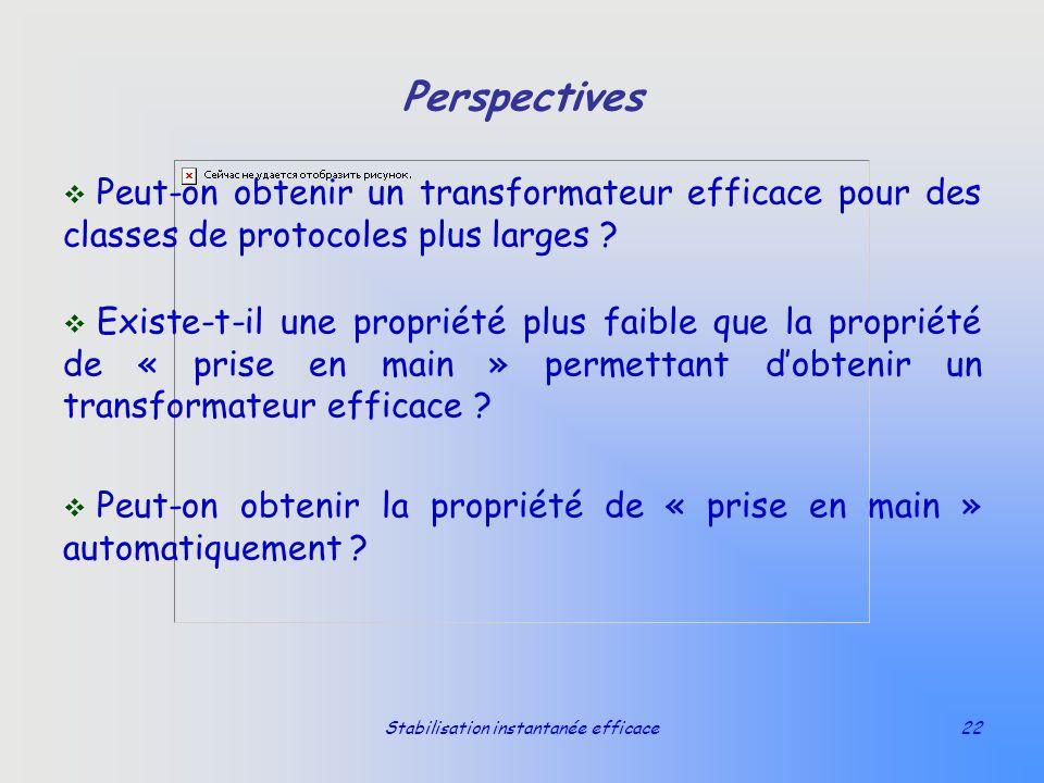 Stabilisation instantanée efficace22 Perspectives v Peut-on obtenir un transformateur efficace pour des classes de protocoles plus larges ? v Existe-t