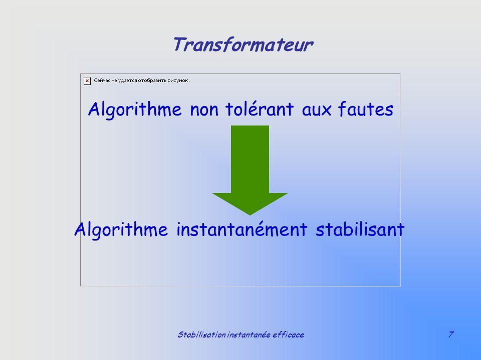 Stabilisation instantanée efficace7 Transformateur Algorithme non tolérant aux fautes Algorithme instantanément stabilisant