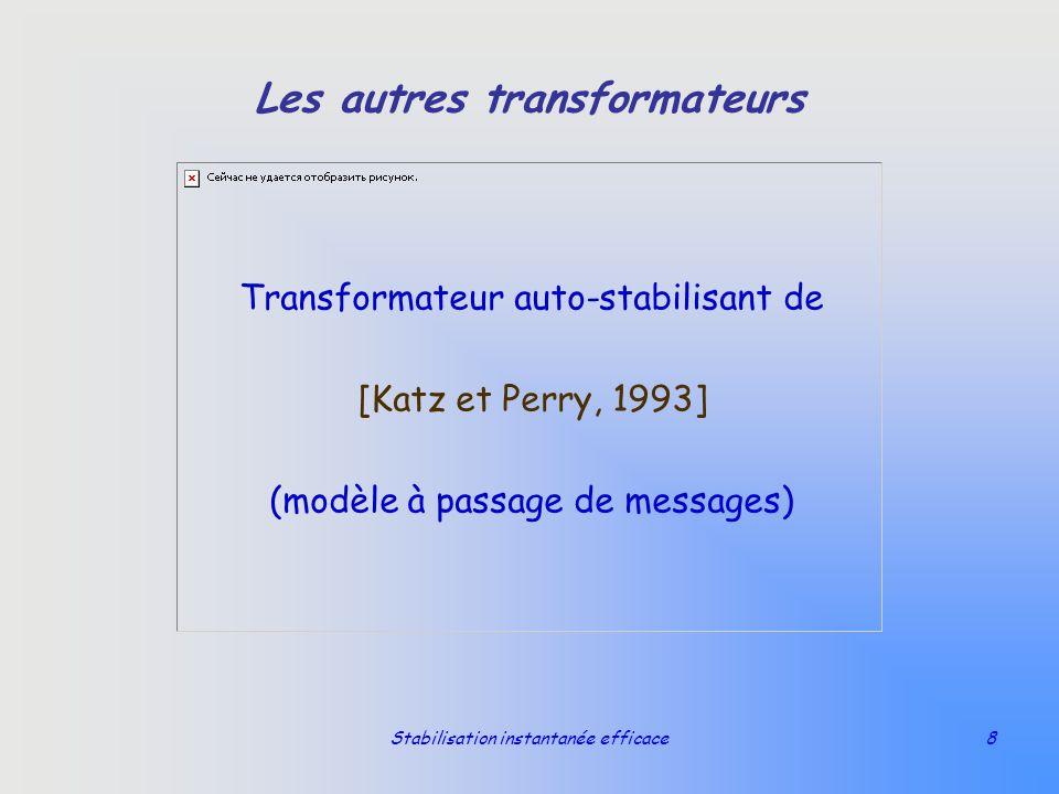 Stabilisation instantanée efficace8 Les autres transformateurs Transformateur auto-stabilisant de [Katz et Perry, 1993] (modèle à passage de messages)
