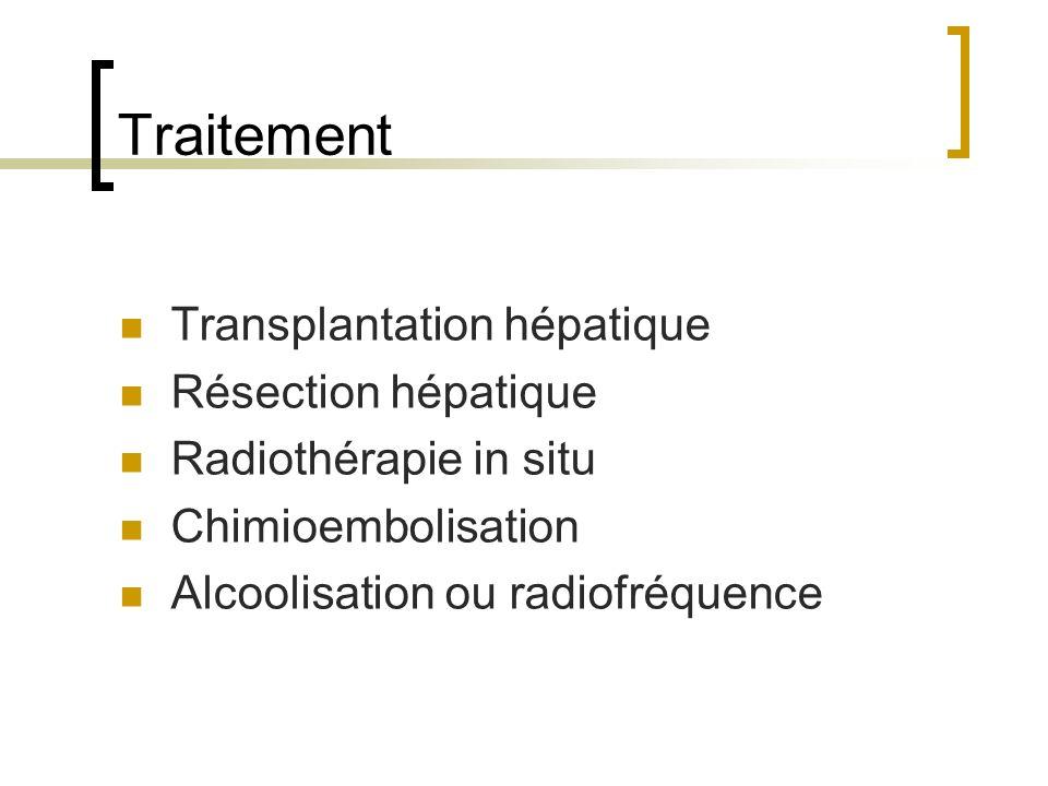 Traitement Transplantation hépatique Résection hépatique Radiothérapie in situ Chimioembolisation Alcoolisation ou radiofréquence