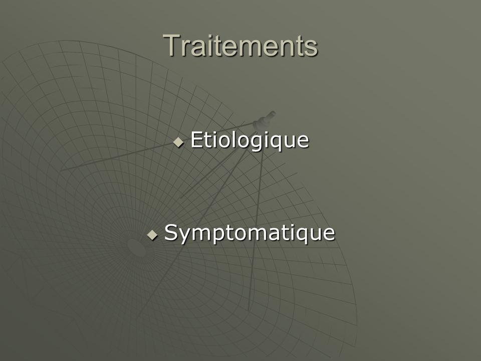 Traitements Etiologique Etiologique Symptomatique Symptomatique