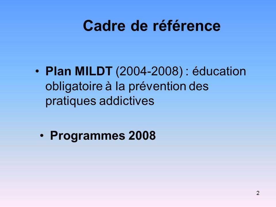 2 Cadre de référence Plan MILDT (2004-2008) : éducation obligatoire à la prévention des pratiques addictives Programmes 2008