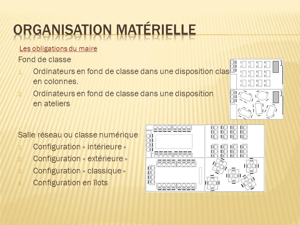 Fond de classe 1. Ordinateurs en fond de classe dans une disposition classique en colonnes. 2. Ordinateurs en fond de classe dans une disposition en a