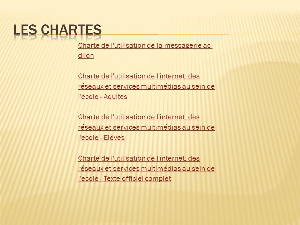 Charte de l'utilisation de la messagerie ac- dijon Charte de l'utilisation de l'internet, des réseaux et services multimédias au sein de l'école - Adu
