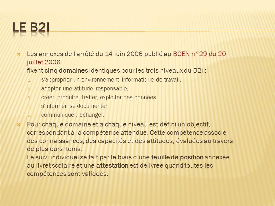 Les annexes de l arrêté du 14 juin 2006 publié au BOEN n°29 du 20 juillet 2006 fixent cinq domaines identiques pour les trois niveaux du B2i :BOEN n°29 du 20 juillet 2006 1.