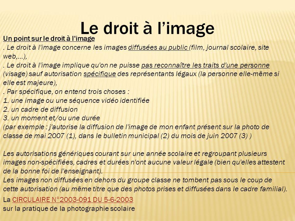 Le droit à limage Un point sur le droit à l'image. Le droit à l'image concerne les images diffusées au public (film, journal scolaire, site web,...),.