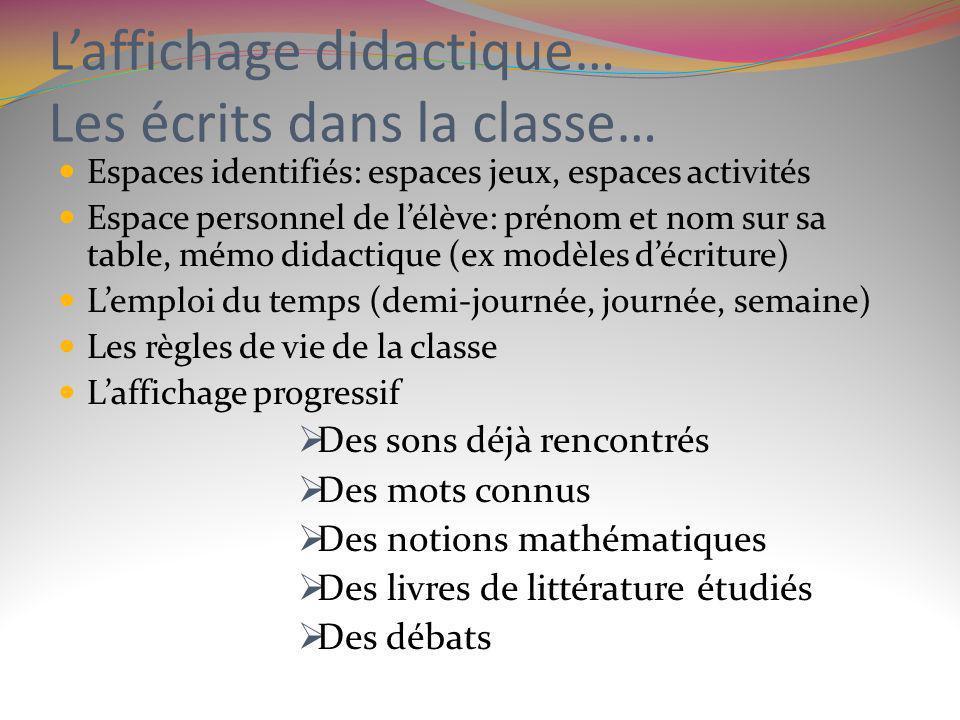 Laffichage didactique… Les écrits dans la classe… Espaces identifiés: espaces jeux, espaces activités Espace personnel de lélève: prénom et nom sur sa