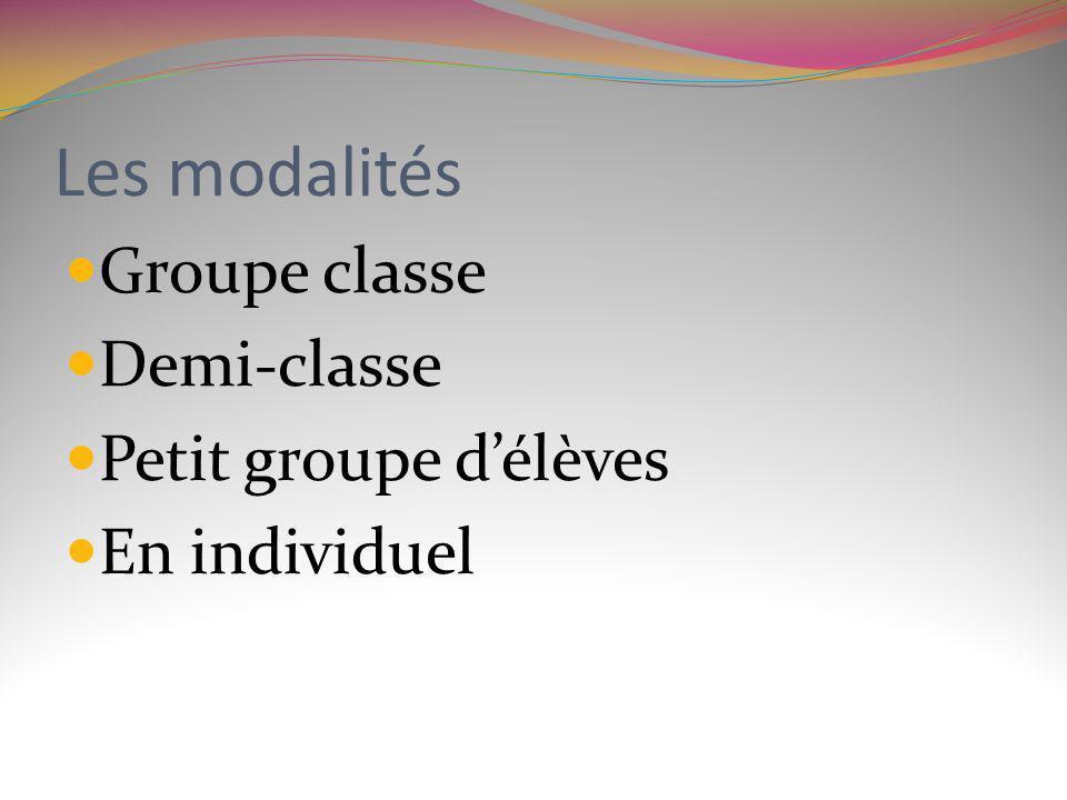 Les modalités Groupe classe Demi-classe Petit groupe délèves En individuel