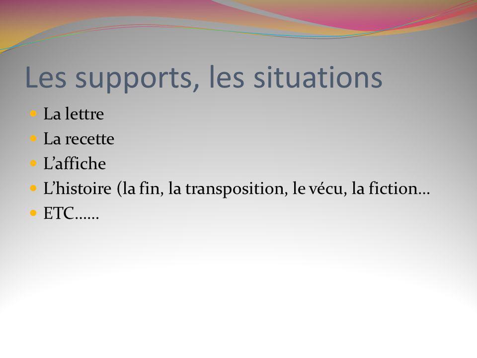 Les supports, les situations La lettre La recette Laffiche Lhistoire (la fin, la transposition, le vécu, la fiction… ETC……