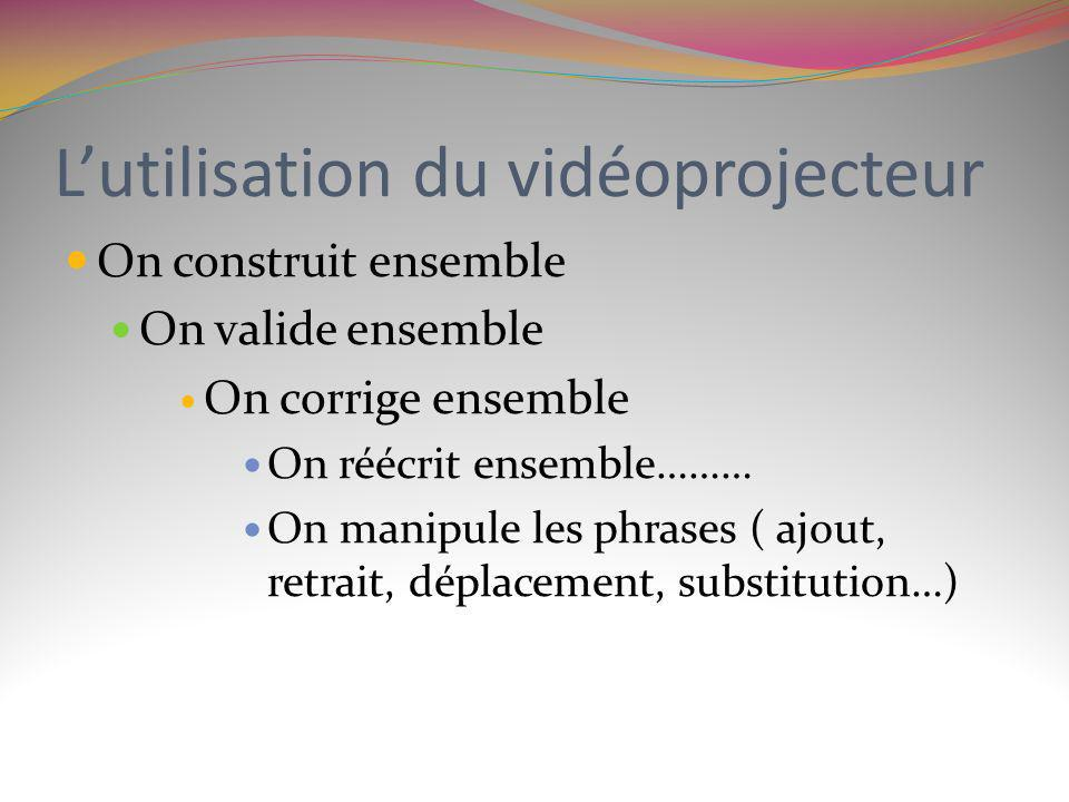 Lutilisation du vidéoprojecteur On construit ensemble On valide ensemble On corrige ensemble On réécrit ensemble……… On manipule les phrases ( ajout, r