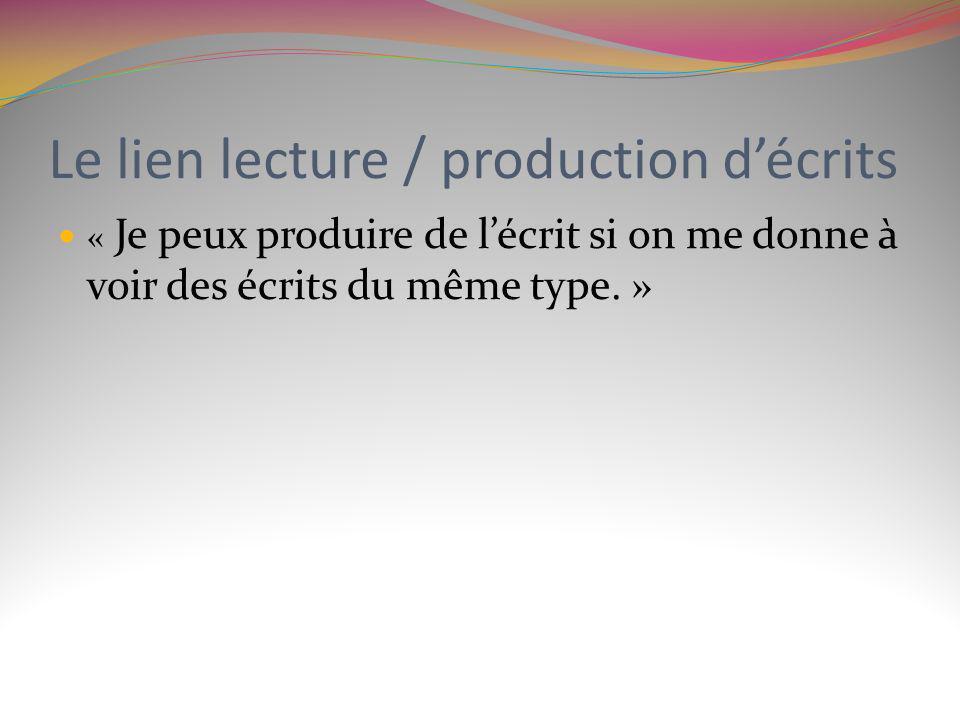 Le lien lecture / production décrits « Je peux produire de lécrit si on me donne à voir des écrits du même type. »