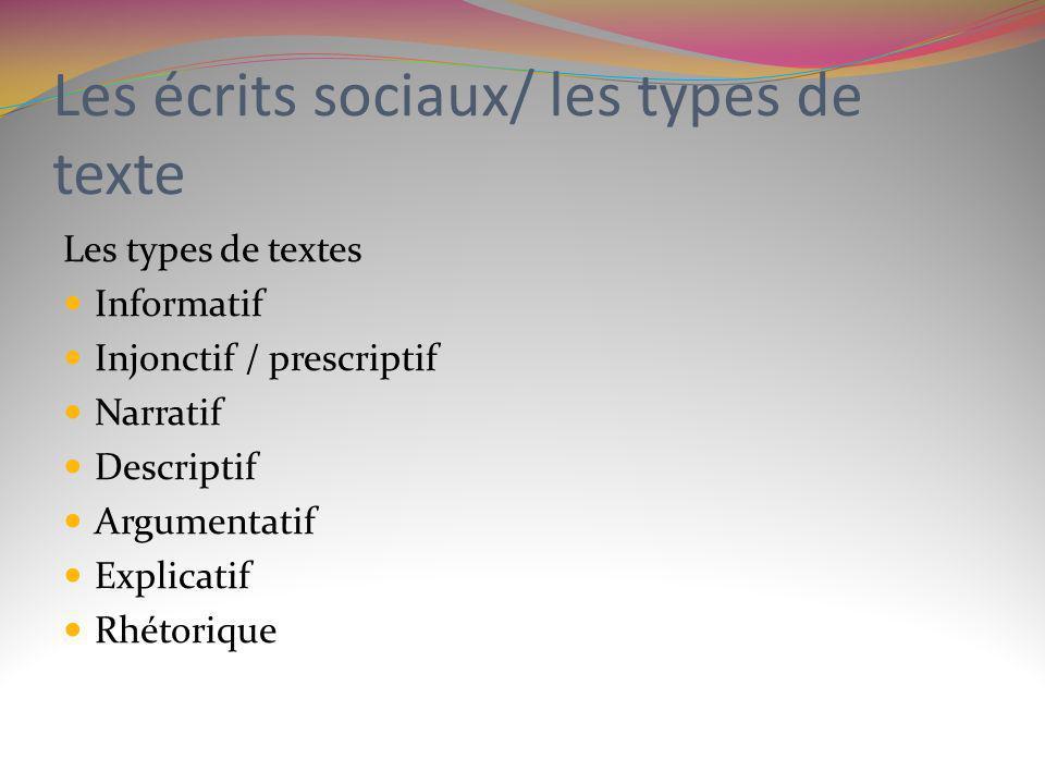Les écrits sociaux/ les types de texte Les types de textes Informatif Injonctif / prescriptif Narratif Descriptif Argumentatif Explicatif Rhétorique