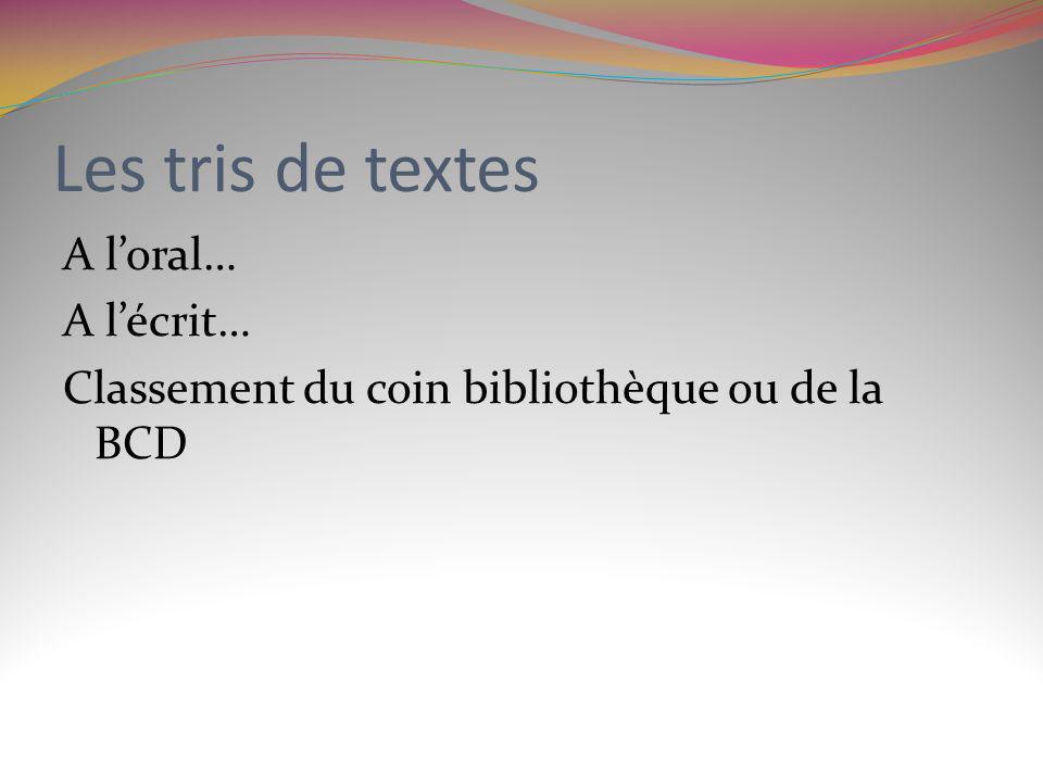 Les tris de textes A loral… A lécrit… Classement du coin bibliothèque ou de la BCD