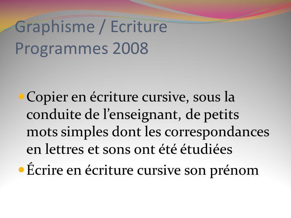 Graphisme / Ecriture Programmes 2008 Copier en écriture cursive, sous la conduite de lenseignant, de petits mots simples dont les correspondances en l