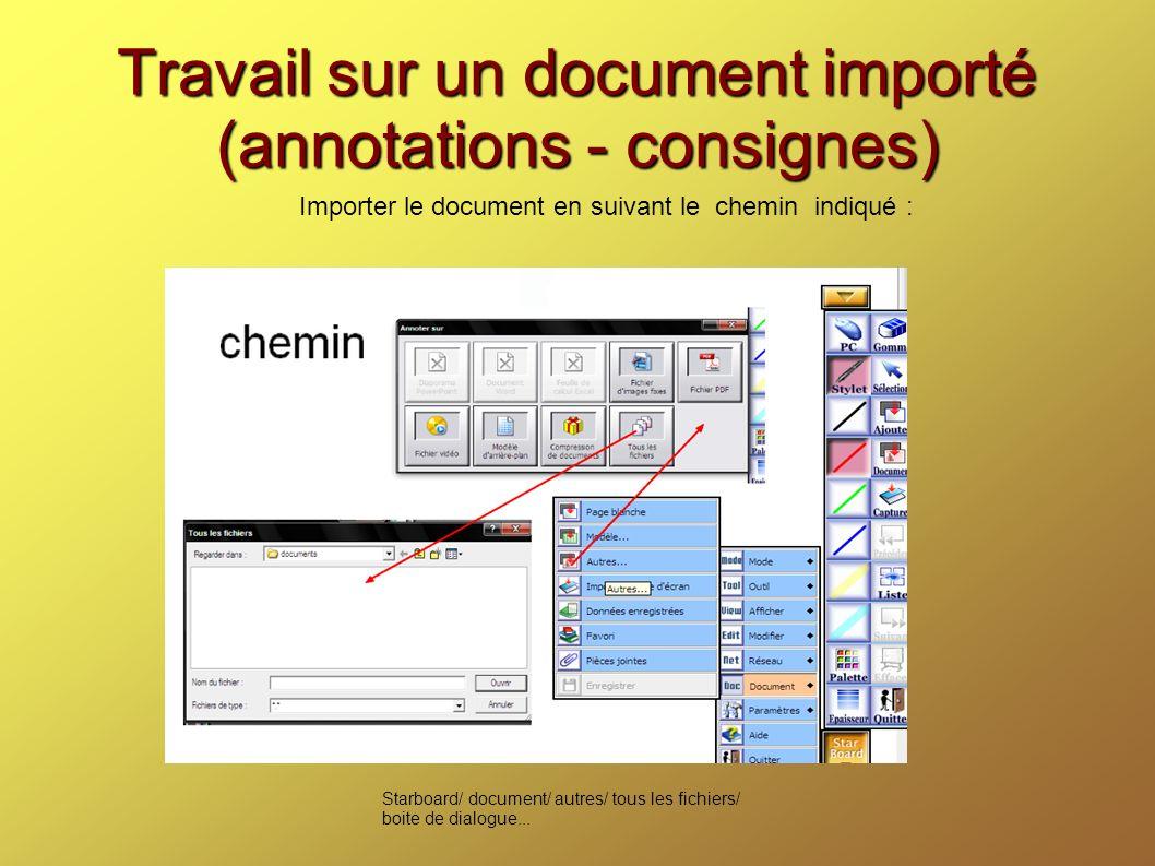 Travail sur un document importé (annotations - consignes) Importer le document en suivant le chemin indiqué : Starboard/ document/ autres/ tous les fichiers/ boite de dialogue...