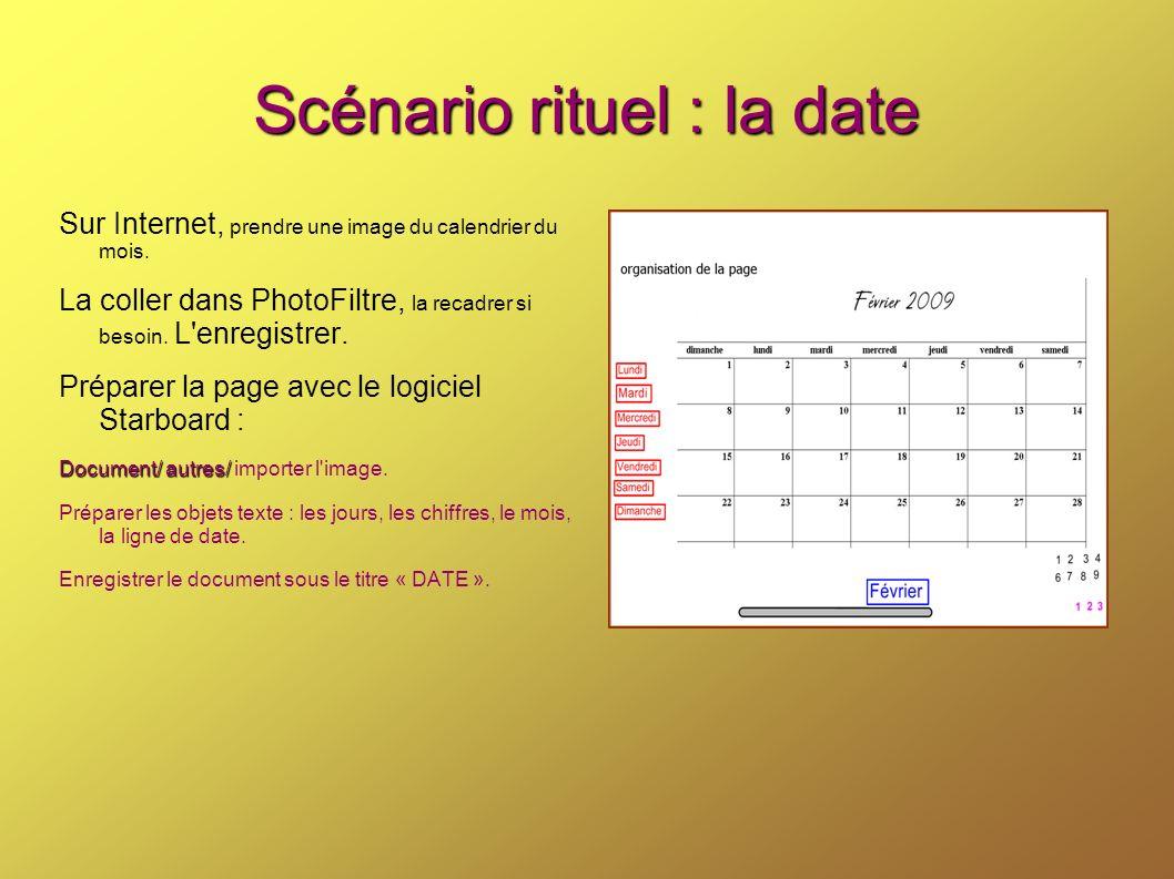 Scénario rituel : la date Sur Internet, prendre une image du calendrier du mois. La coller dans PhotoFiltre, la recadrer si besoin. L'enregistrer. Pré