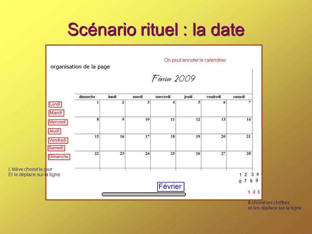 Scénario rituel : la date L'élève choisit le jour Et le déplace sur la ligne Il choisit les chiffres et les déplace sur la ligne On peut annoter le ca