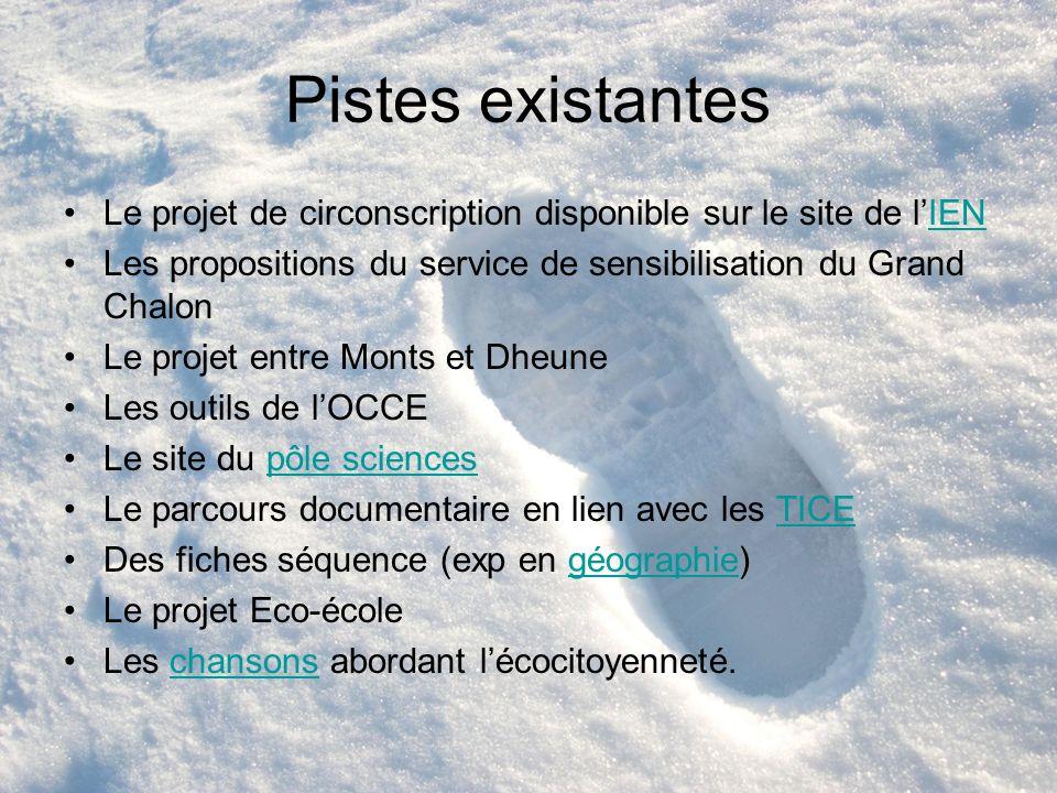 Pistes existantes Le projet de circonscription disponible sur le site de lIENIEN Les propositions du service de sensibilisation du Grand Chalon Le pro
